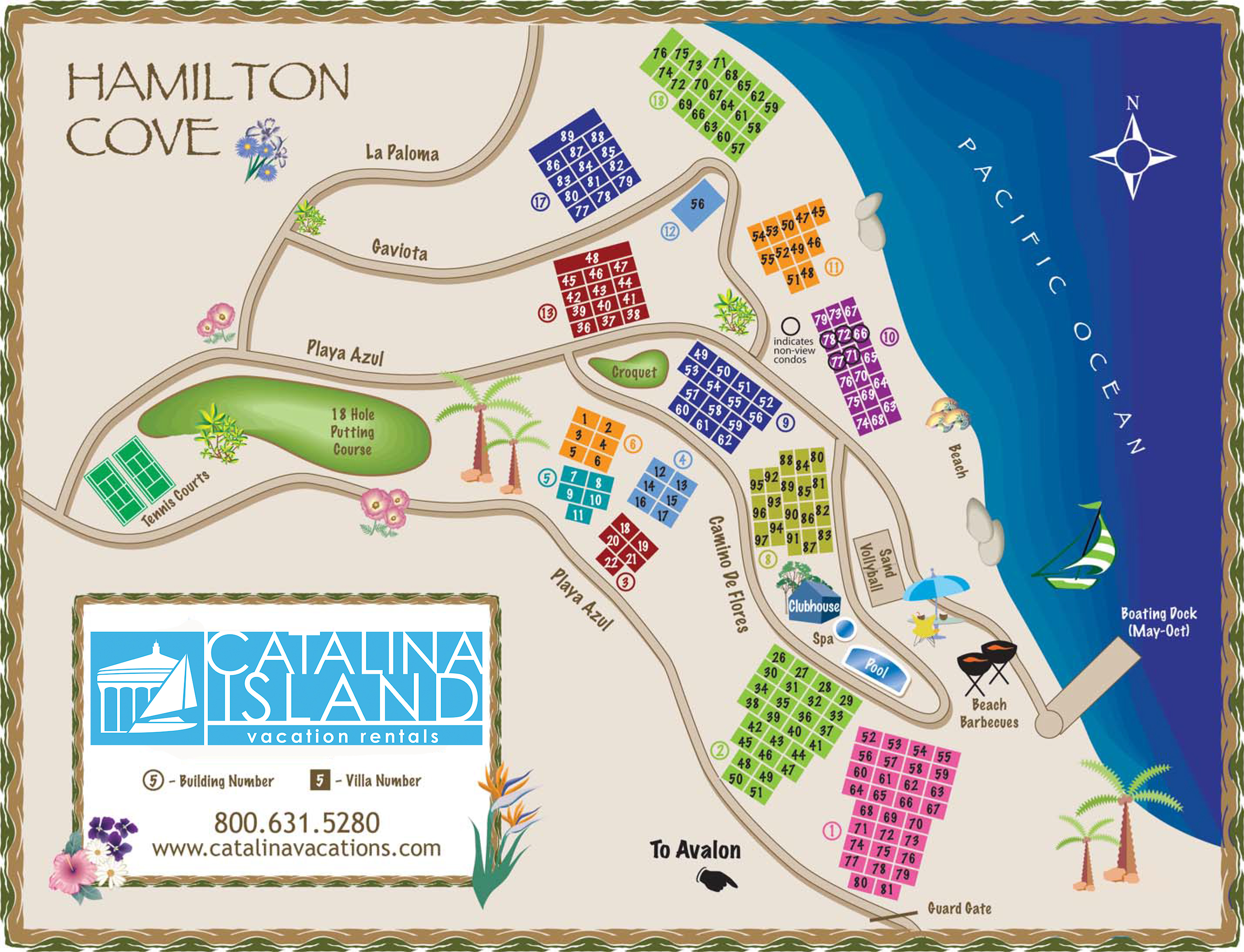 Hamilton Cove Map 2019 | Catalina Island Vacation Rentals